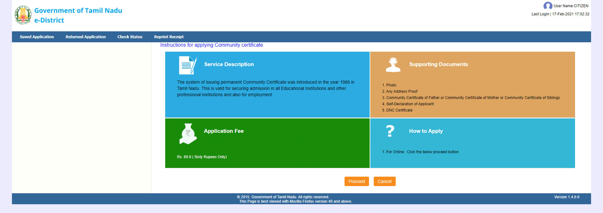 community certificate instructions