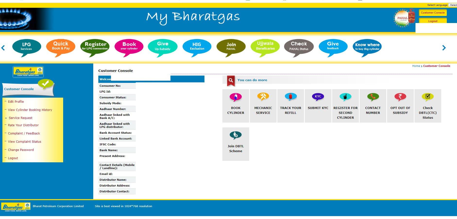 bharat gas dashboard