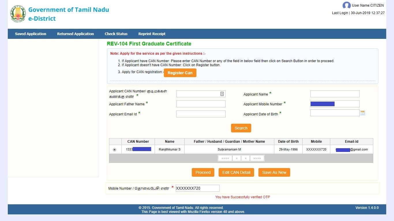 apply first graduate certificate can number