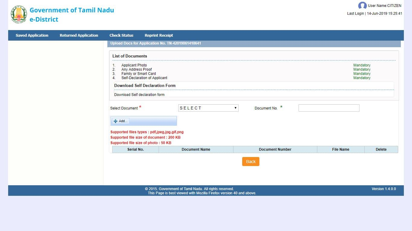 income certificate required documents