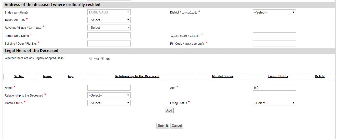 legal heir certifcate application form