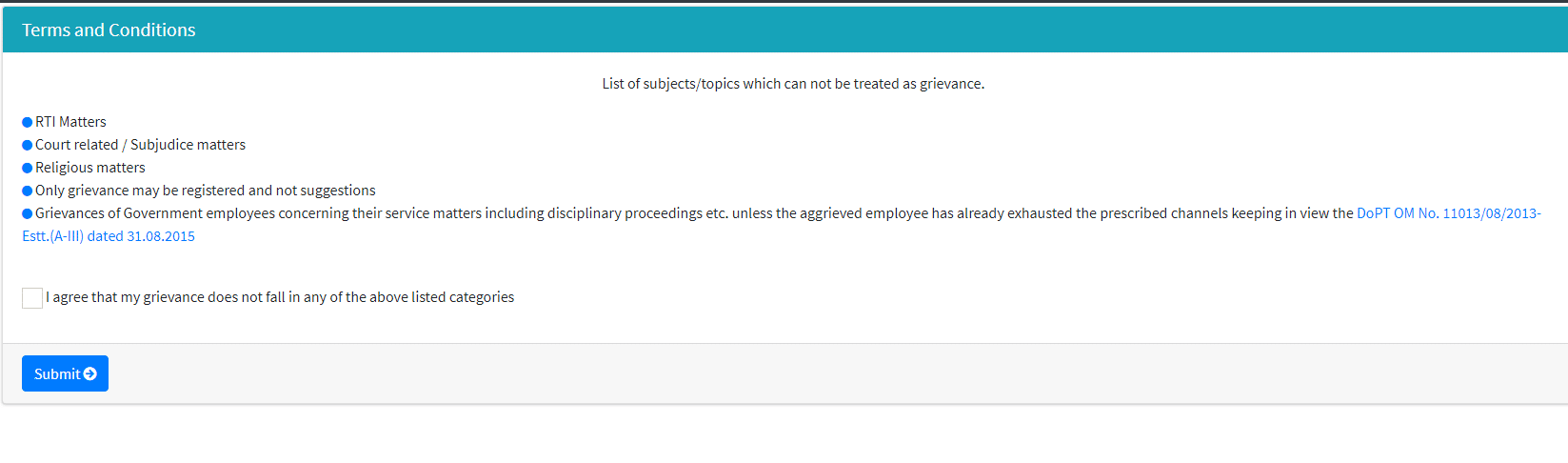 terms and conditions pm complaint portal